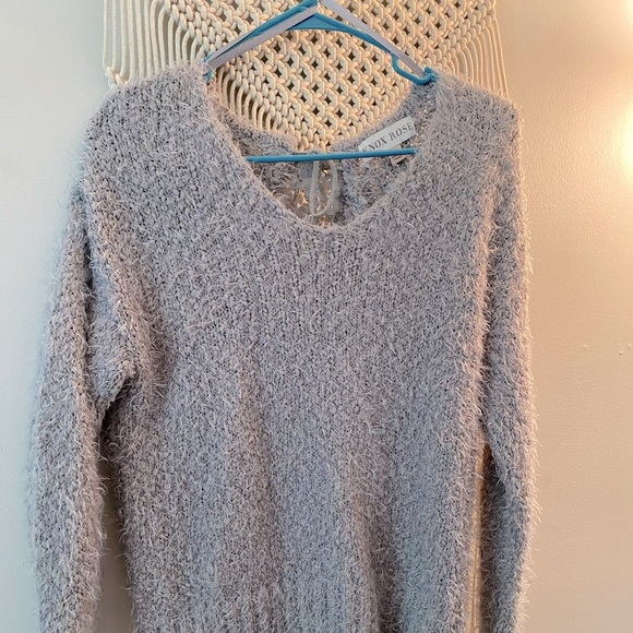 Gray, lace panel open back sweater